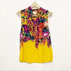 Anthro Meadow Rue floral yellow sleeveless top